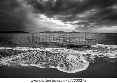 beautiful sea landscape in black and white - stock photo