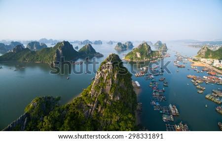Beautiful sea landscape in Ha Long Bay, Vietnam.
