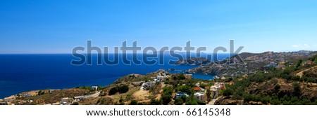 Beautiful sea landscape view to the Agia Pelagia bay. - stock photo