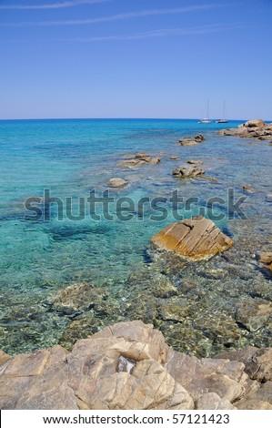 Beautiful sea of Cala Sinzias, Castiadas, in Sardinia, Italy - stock photo
