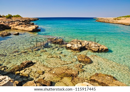 Beautiful sea of Porto Selvaggio's coast, natural reserve in Salento, Apulia. Italy