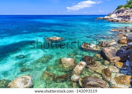 Beautiful sea on tropicla island with crystal clear water, Kho Tao, Samui, Thailand - stock photo