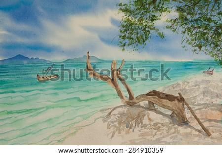 Beautiful sea painting ; watercolor painting - stock photo