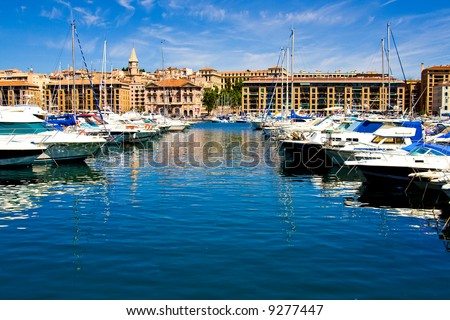 Beautiful Sea port with boats on a beautiful day (Marseille, France) - stock photo