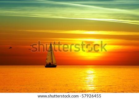 Beautiful sea sunset - stock photo