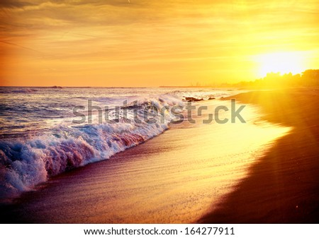 Beautiful Sea Sunset Beach. Mediterranean Sea. Spain. Golden Colors - stock photo