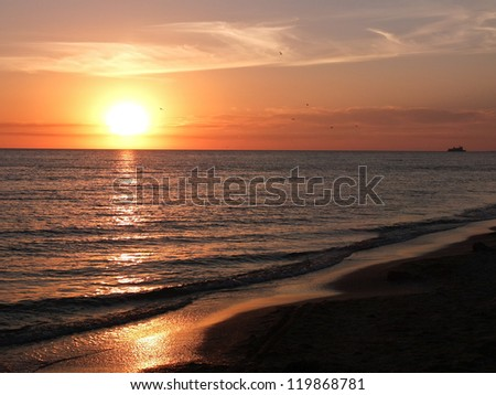 Beautiful sea sunset in summer time - stock photo