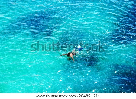 beautiful sea. top view - stock photo