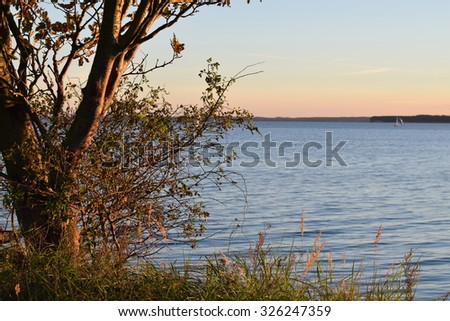 Beautiful sea view from the Danish coast in the countryside in early autumn evening