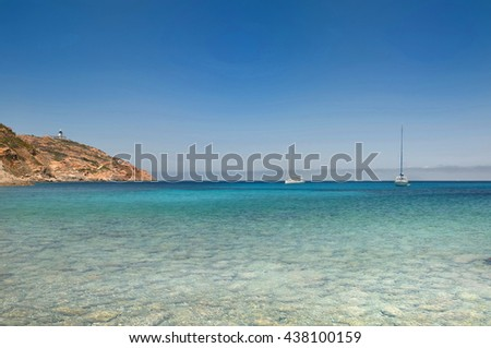 beautiful sea with sailing at horizon in Corsica, Revellata,  - stock photo