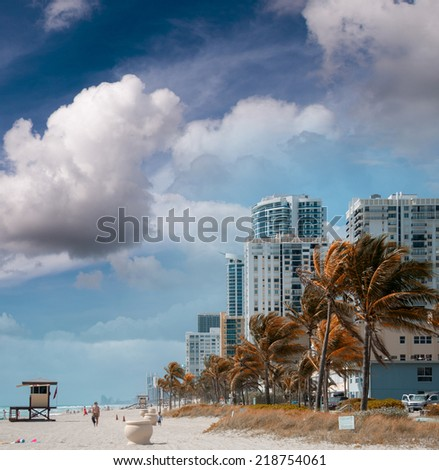 Beautiful seafront of Fort Lauderdale. Beach in Florida. - stock photo