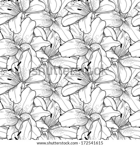 Beautiful seamless background of black and white lilies hand-drawn. Many similarities in the profile of the artist - stock photo