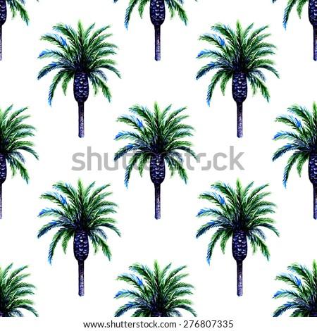 Beautiful seamless floral pattern background with watercolor palm trees - stock photo