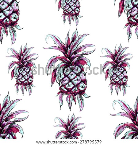 Beautiful seamless floral tropical pattern background. Pineapples - stock photo