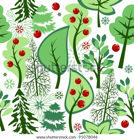 Beautiful seamless green pattern with trees and berries. Raster version. - stock photo
