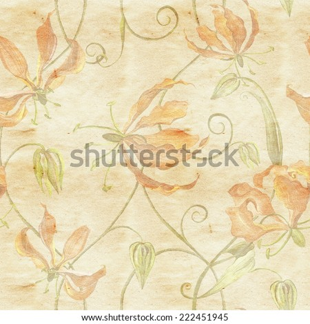 Beautiful seamless pattern in vintage style with watercolor flowers - gloriosa flowers in old paper background.