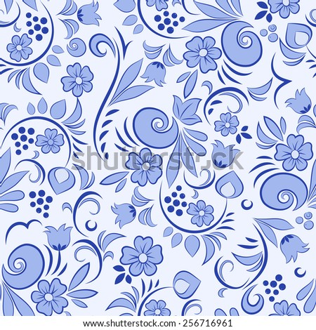 Beautiful seamless pattern with abstract floral elements 1 - stock photo