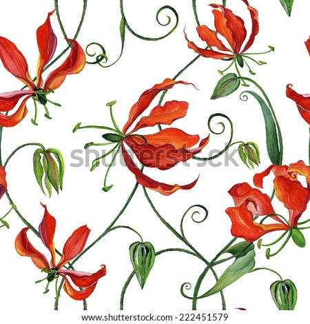 Beautiful seamless pattern with watercolor flowers - gloriosa flowers in white background. - stock photo