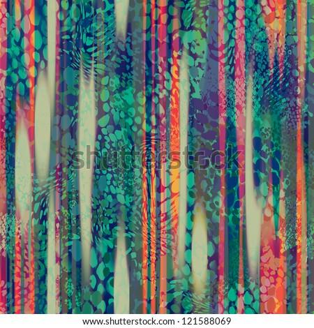 beautiful seamless rainbow animal background - stock photo
