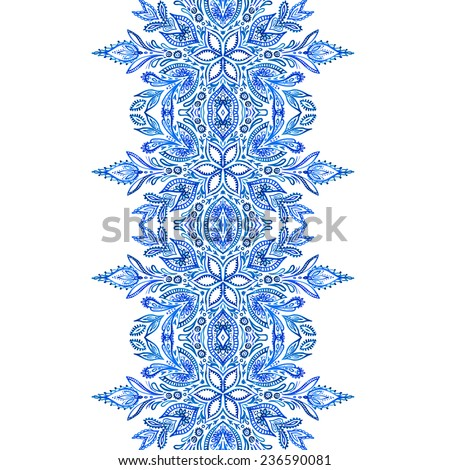 beautiful seamless snowflake border in traditional Russian or English style. Lace with floral elements. - stock photo