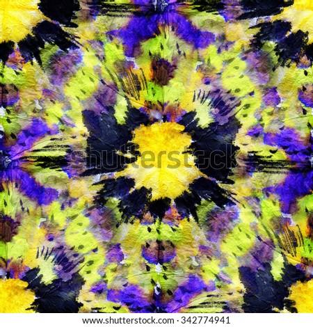 Beautiful seamless tie-dye pattern with purple,  black  and yellow circles. - stock photo