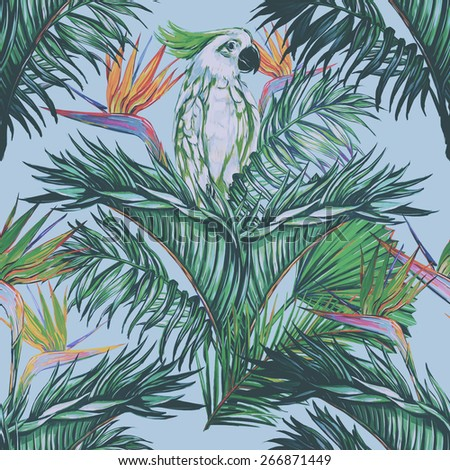 Beautiful seamless vintage floral jungle pattern background. Parrot, tropical flowers, palm leaves and plants, bird of paradise flower, exotic print - stock photo