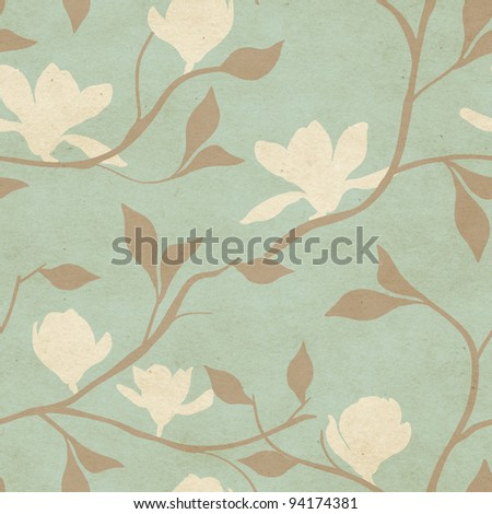 Beautiful seamless vintage wallpaper with magnolia flower pattern - stock photo