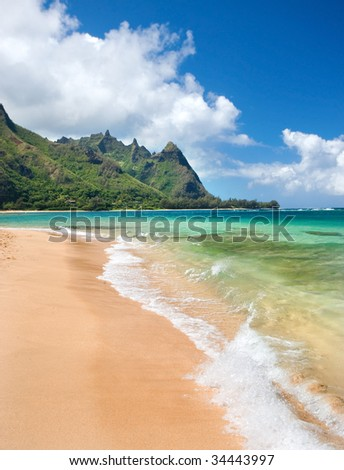 beautiful seascape at tunnels beach north shore kauai hawaii - stock photo