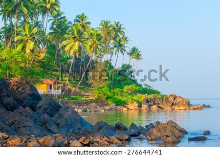 beautiful seascape. Beautiful tropical place for relaxation - stock photo