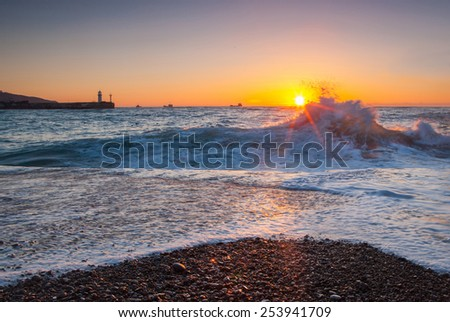 Beautiful seascape during storm - stock photo