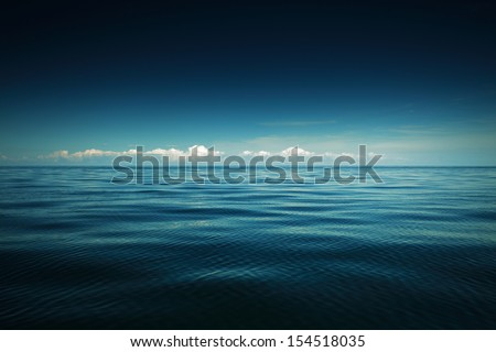 Beautiful seascape evening sea horizon and sky. Tranquil scene. Natural composition of nature. - stock photo