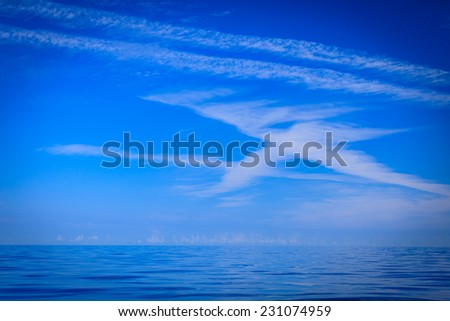 Beautiful seascape evening sea horizon and sky. Tranquil scene. Natural composition of nature. Landscape.