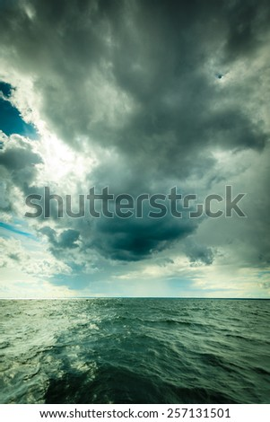 Beautiful seascape evening storm sea horizon and sky. Natural composition of nature. Landscape. - stock photo