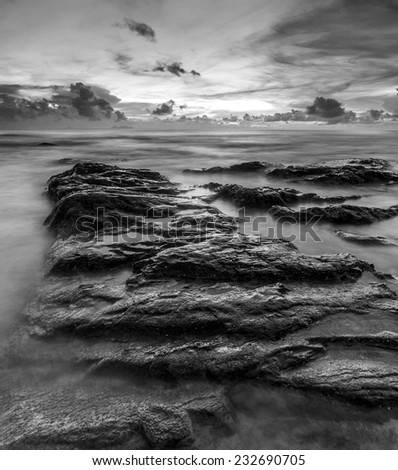 Beautiful seascape in black and white - stock photo