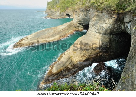 beautiful seascape in cape flattery of olympic national park, washington, usa - stock photo