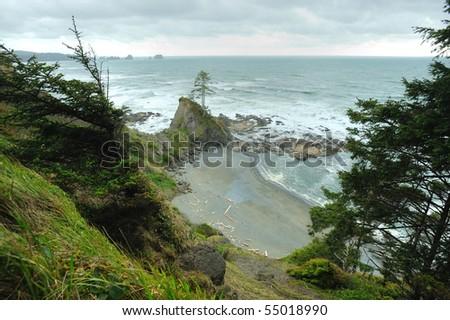 Beautiful seascape in shi shi beach of olympic national park, washington, usa - stock photo