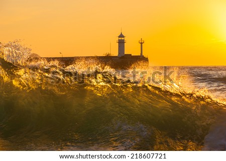 Beautiful seascape in storm - stock photo
