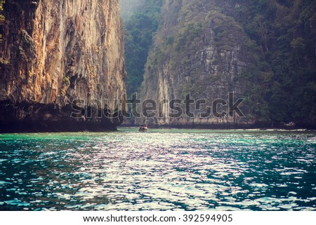 Beautiful seascape of Phi-Phi islands, Krabi, Thailand. Image with selective focus and toning - stock photo