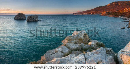 Beautiful seascape on sunrise - stock photo