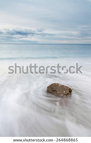 Beautiful seascape, sandy beach, dramatic clouds. Yalta. Crimea. Ukraine. Russia - stock photo