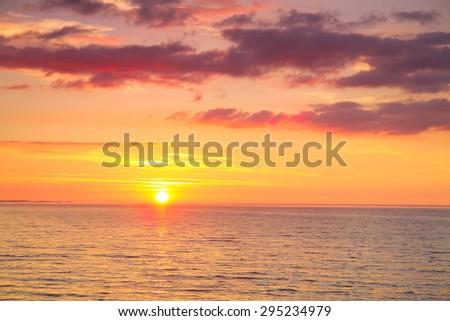 beautiful seascape. Summer sun shines and the ocean - stock photo