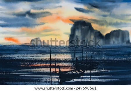 Beautiful seascape with fisher boats and dark mountain at sun set time ; Original watercolor painting - stock photo