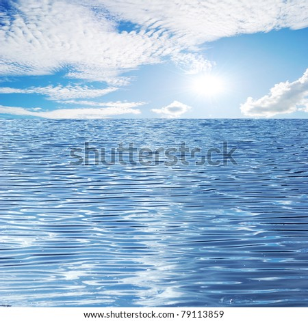 Beautiful seascape with  sun sky and cloud - stock photo