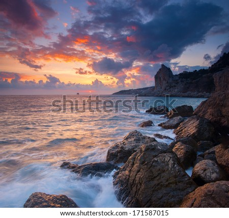 Beautiful seascape with sunrise - stock photo