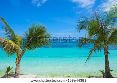 Beautiful seashore of tropical island, Philippines, Southeast Asia - stock photo