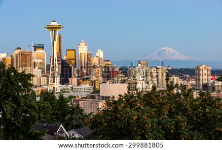Beautiful Seattle in the Evening with Space Needle and Mt.Rainer - stock photo