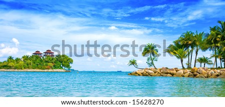Beautiful secluded lagoon in the tropics - stock photo