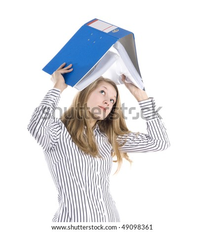 Beautiful secretary looking up to file (fear of tax concept) - stock photo