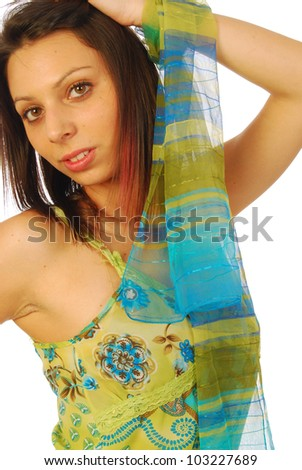 Beautiful seductive brunette in a sexy dress 127 - stock photo