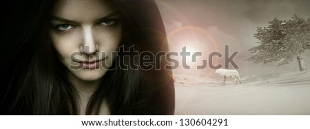 Beautiful seductive young woman model portrait in a fantasy background - stock photo